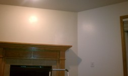 Almond white on main walls and baked scone on the accent wall (fireplace)