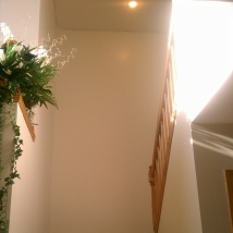 Hallway/stairwell landing. Painting two story tall walls is hard!